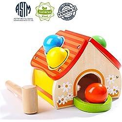 TOP BRIGHT Jouet Montessori Bois 1 an, Banc à Marteler pour Fille et Garçon,Jouet à Frapper avec Marteau et Boule pour Cadeau Enfant de 1 an et 2 Ans