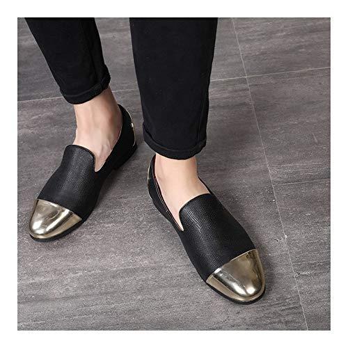 WENQU Komfortables Fahren Loafers for Männer-Weg-Schuhe Slip-on-Art PU-Oberspitz Cap Toe Leichte Prosperous Dekoration Split Joint Sweat Texture absorbieren (Color : Schwarz, Größe : 44 EU) - Klassisches Schwarz-junction