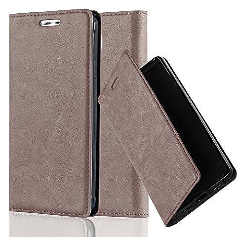 Cadorabo - Book Style Schutz-Hülle mit Standfunktion für Samsung Galaxy ALPHA mit unsichtbarem Magnet-Verschluss - Case Cover Schutzhülle Etui Tasche mit Kartenfach in KAFFEE-BRAUN