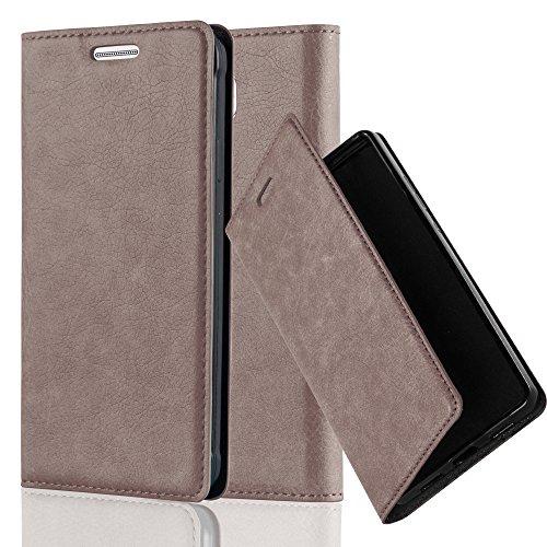 Cadorabo Hülle für Samsung Galaxy Alpha - Hülle in Kaffee BRAUN - Handyhülle mit Magnetverschluss, Standfunktion & Kartenfach - Case Cover Schutzhülle Etui Tasche Book Klapp Style