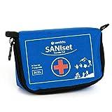 Saniteks SANIset Erste Hilfe Travel Set, 34-teilige Notfallversorgung für Reisen, Unterwegs und Zuhause mit praktischer Gürtelschlaufe, Erste-Hilfe-Set, Blau, 120 x 80 x 55 mm