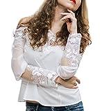 Luxspire Damen Schulterfrei Bluse, Sexy Lace Borte Spitzen Blumenspitze Tops Shirts, Weiß, Medium