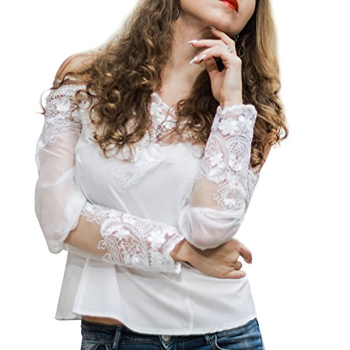 Gestickte Crochet Lace (Luxspire Damen Schulterfrei Bluse, Sexy Lace Borte Spitzen Blumenspitze Tops Shirts, Weiß, Large)
