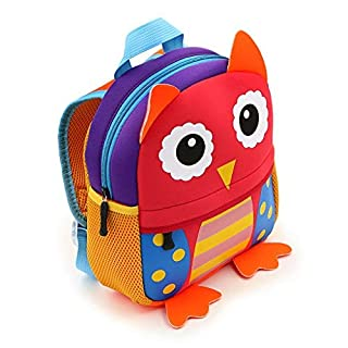 IGNPION Nursery Kids Backpacks Toddle Children School Bag Zoo Lunch Bag 3D Cute Animal Cartoon Preschool Rucksack (1-5 Years Old) (Owl)