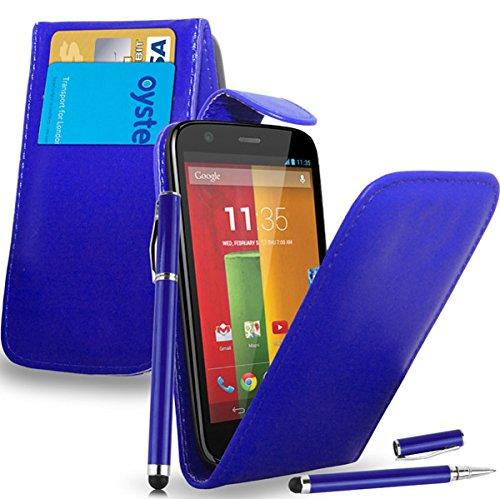 Motorola Moto G - Leder Flip Hülle Tasche + 2 in 1 Stylus Pen + Screen Protector & Poliertuch ( Blue ) (Motorola G Case Ladegerät)