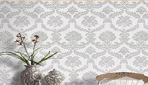 Malilove Pvc wasserdicht Aufkleber Europäische Damaskus Serie Wallpaper, silbrig (Damaskus-serie)