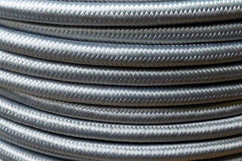 Preisvergleich Produktbild 5m Textilkabel Stoffkabel silber 3x0,75qmm