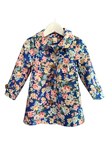 VOYTO® NEW Spring 2017 -Baby Girl Kids Cotton Long Sleeve Vintage rose flower floral trench coat cardigan blazer outfits Jacket tutu dress cute waistband belt (2-3 Years (98cm), Navy)