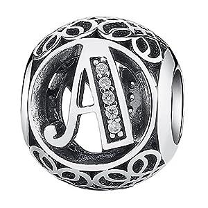 Vintage charm stile vintage con lettera dell'alfabeto, con zirconia cubica trasparente, compatibile con bracciali Pandora ed europei e Argento, cod. PSC048