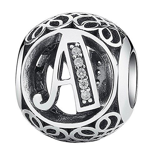 Damen Alphabet Buchstabe Charm Anhänger Bead mit klaren Zirkonia Brief Bead Charm für Pandora und europäische Armbänder (Buchstabe A)