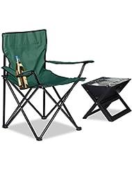 Relaxdays Campingstuhl, Armlehnen, Getränkehalter, Tragetasche, klappbar, HBT: 81 x 78 x 50 cm, grün
