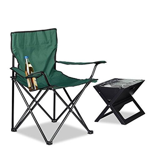 Relaxdays Silla Camping Plegable Acolchada con Reposabrazos, Soporte para Bebidas y Bolsa...