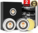 Beard Grooming Kit w/ 2 Packs Beard Balm for Men,100% Natural Organic Unscented Beard Care Balm Leave-in Conditioner & Softener for Grooming w/Gift Box, Gifts for Men Dad Boyfriend, Fathers Day Gifts