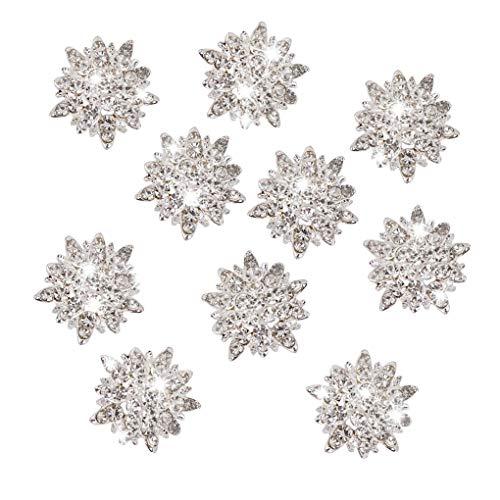 Aiming 10Pcs / Set DIY Kristall-Legierung Zusätze Knopf Strass Schmuck Kristallblumen-Knopf DIY Haarschmuck