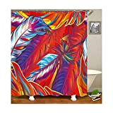 Daesar 3D Lustiger Duschvorhang 90x180 Feder Duschvorhang Antischimmel aus Polyester-Stoff