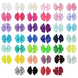 Eurobuy 40Pcs 3 Baby Hair Clips For Girls Grosgrain Boutique bow Clips For Teens Toddlers Kids Children infants