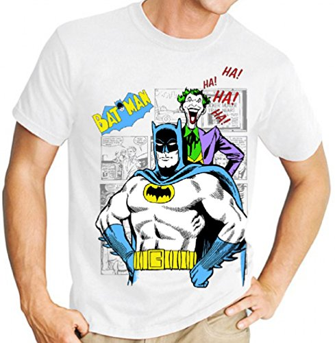 Lukreative Design Classic Batman and Joker Comic Book Graphic Novel - Mens White Tee Shirt