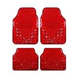 EUGAD Auto Fußmatten/Auto Matten, Alu Look, Universal passend, 4-teilige Riffelblech, Rot 7103