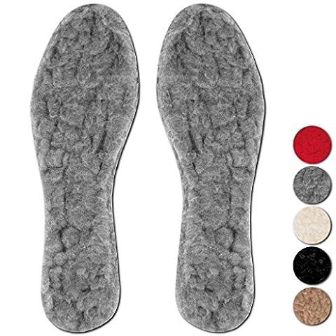 3er Pack Einlegesohlen Lammflor Schuheinlage Fußwärmer Auswahl: Größe: 39/40, Farbe: grau - (Fuß Warm Einlegesohle)