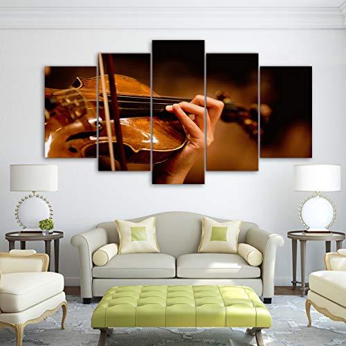 mmwin Moderne Poster Wandkunst Bilder HD Gedruckt Leinwand Wohnzimmer 5 Panel Bunte Hund Malerei Modulare Dekoration Rahmen 6 40x60 40x80 40x100 cm