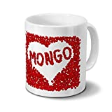 Tasse mit Namen Mongo - Motiv Rosenherz - Namenstasse, Kaffeebecher, Mug, Becher, Kaffeetasse - Farbe Weiß