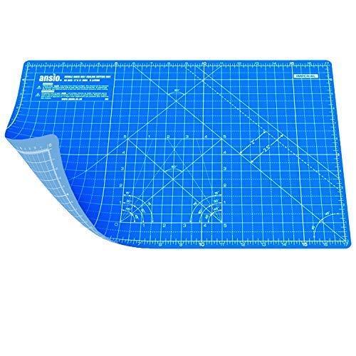 ANSIO Schneidematte Selbstheilende A3 Doppelseitige 5 Schichten sassend für Kunst, Nähen - Imperial/Metric 17 x 11 Zoll / 42 x 27 cm -Wahres Blau/Himmelblau