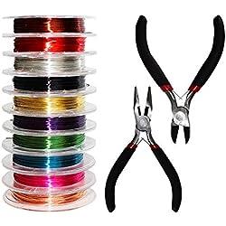 Kurtzy Pinces et Câbles - 10 Rouleaux de Fil de Cuivre Coloré et 2 Pinces pour Fabrication de Bijoux, 1 Pince Coupante et 1 Pince Plate - Kit Réparation Bijoux pour Loisirs Créatifs, Perles