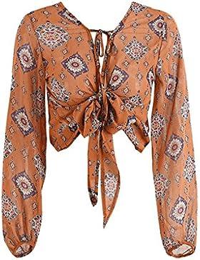 Masterein Deep V-cuello de impresión Blusa de gasa camisa Mujeres de manga larga de lazo Bow Blusa Culata Top...