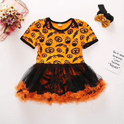 Kostüm Kleinkind Knochen Farbe - wojiaxiaopu Halloween Neue orange Mesh Sandrock hochwertige Baumwolle Sommer Kinderkleidung Farbe 90cm