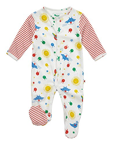 Piccalilly Organic Cotton Unisex Long Sleeve Multicolored Space Footed Sleepsuit