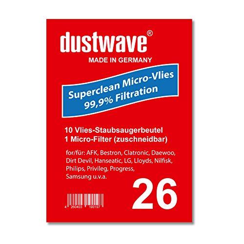 Sparpack - 10 Staubsaugerbeutel geeignet für Samsung - SC 1200 Eco Wave Staubsauger - dustwave® Markenstaubbeutel / Made in Germany + inkl. Micro-Filter