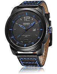 De hombre Fashion Sports reloj de cuarzo de alta calidad correa de piel azul