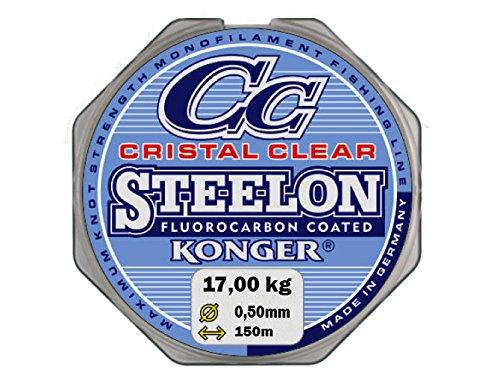 Angel cuerda Konger Cristal Clear fluorocarbono Coated 0,12–0,50mm/150m monofile Super fuerte. (0,05€/m), transparente, 0,50mm / 17kg