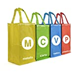 Pusher Metro Set da Raccolta Differenziata, Tela, Multicolore, 21x21x45 cm, 4 Unità