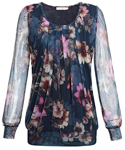 BAISHENGGT Damen Langarmshirt Rundhals Falten Shirt Stretch Tunika Blau-Rosa XL