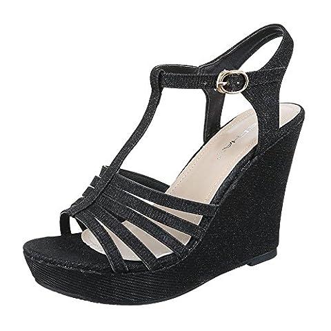 Keilsandaletten Damen Schuhe Plateau Keilabsatz/ Wedge Keilabsatz Schnalle Ital-Design Sandalen / Sandaletten Schwarz, Gr 39, (Keilabsatz Schwarz)
