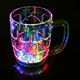 SHOPEE BRANDED Fibre Glass Beer Mug With Inductive Rainbow Color Disco Led 7 Colour Changing Liquid Activated Lights Multi Purpose Use Mug/Cup 295ml