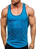 BOLF Herren Muskelshirt Ärmellos T-Shirt Tank Top Motiv Sport Style Madmext 2446 Blau L [3C3]