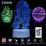 HOKEKI 3D LED Star Wars Nachtlicht mit Fernbedienung, 3D Illusion Lampe 3 Muster+16 Farbwechsel Dekor Lampe Lichter Dimmbar Perfekte Geschenke für Kinder Todesstern+R2-D2+Millennium Falcon-3 Packs