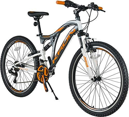 KRON ARES 4.0 Fully Mountainbike 26 Zoll   21 Gang Shimano Kettenschaltung mit V-Bremse   16.5 Zoll Rahmen Vollgefedert MTB Erwachsenen- und Jugendfahrrad   Grau & Orange