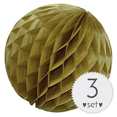 le Vintage Gold - Honeycomb Lampions für Party und Hochzeit - 3er Set handgefertigte Papierkugeln (Vintage Gold, 10 cm) (Mint Grün Rosen)