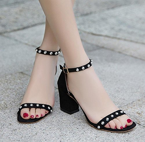 De Forma Preto Rebite Sapatos Aberta Verão Fivela Sandálias De Sapatos De Estilo Alto Salto Frisado Palavra 0fdfZqw