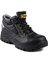 Black Hammer Mens Safety Boots Work Waterproof Leather Composite Toe Cap Kevlar Non Metallic Working Ankle Lightweight Footwear HRO S3 SRC 1111