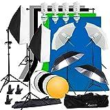 abeststudio Fotografie Studio Softbox kontinuierliche Beleuchtung Kit 4x 135W Flash Licht Set mit 5x Kulissen (schwarz weiß grün grau blau) 2x Soft Box, 4x Schirme, 4x Light Ständer, 2* 3M Hintergrund Support Ständer + 60cm 5in 1Reflektor + Tragetasche