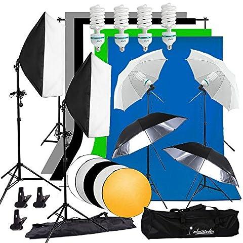 abeststudio Fotografie Studio Softbox kontinuierliche Beleuchtung Kit 4x 135W Flash Licht Set mit 5x Kulissen (schwarz weiß grün grau blau) 2x Soft Box, 4x Schirme, 4x Light Ständer, 2* 3M Hintergrund Support Ständer + 60cm 5in 1Reflektor + (Digital Studio Beleuchtung)