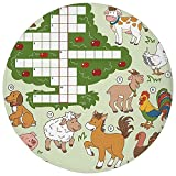 Round Rug Mat Carpet,Word Search Puzzle,Cartoon Style Farm Animals Cute Happy Country Life Theme Squares Numbers Decorative,Multicolor,Flannel Microfiber Non-slip Soft Absorbent,for Kitchen Floor Bath