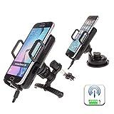 Antye® Qi KFZ Ladestation Wireless Charger Induktives Ladegerät für das Auto mit drei Induktionsspulen fürSamsung Galaxy, iPhone, Google Nexus, HTC, LG, Nokia und alle qi kompatiblen Handys (Schwarz)