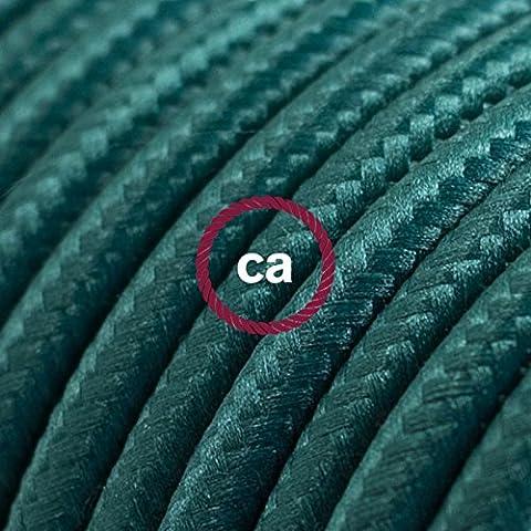 Fil Électrique Rond Gaine De Tissu De Couleur Effet Soie Tissu Uni Vert Foncé RM21 - 5 mètres, 3x0.75