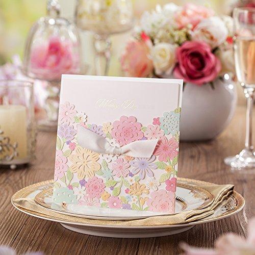 Wishmade taglio Laser, inviti da matrimonio inviti con fiori colorati con mano cartoncino per festa di fidanzamento sposa doccia cw5031