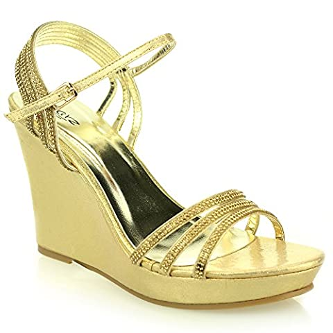 Women Ladies Open Toe Ankle Strap Diamante Evening Wedding Party Prom Bridal High Wedge Heel Gold Sandals Shoes Size